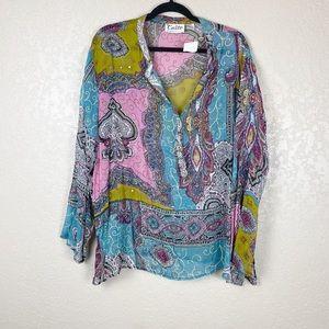 Caite multi colored beaded boho blouse